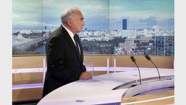 L'ancien directeur du FMI, Dominique Strauss-Kahn, sur le plateau du journal de 20h, de TF1, le 18 septembre 2011.
