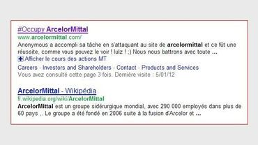 Capture d'écran d'une recherche google pour ArcelorMittal Liège