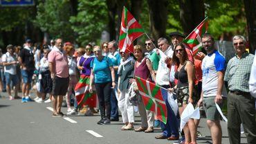 Chaîne humaine pour réclamer l'autodétermination du Pays basque espagnol, le 10 juin 2018 à Saint-Sébastien