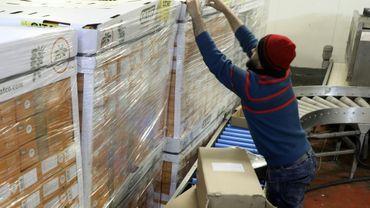 Un ouvrier palestinien vérifie la date d'expiration de ses marchandises, alors qu'Israël a bloqué le 9 février 2020 les exportations agricoles depuis les Territoires palestiniens