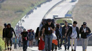Des migrants d'Amérique centrale poursuivent leur route vers les Etats-Unis, le 13 novembre 2018 dans l'Etat mexicain de Jalisco
