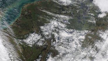 La neige vue de l'espace ce 13 février 2018.