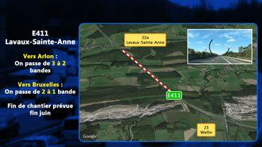 Lavaux-Saint-Anne: travaux de placement de l'Arc Majeur, une voie de circulation en moins sur l'E411