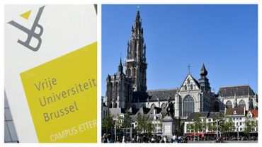 Logo de la VUB et cathédrale Notre-Dame d'Anvers