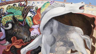 """""""Corrida: la mort du toréro"""" de Pablo Picasso, 19 septembre 1933, huile sur bois, 31 x 40 cm, Musée national Picasso-Paris, MP145"""