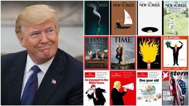 Lors de sa première année au pouvoir, Donald Trump a souvent été caricaturé en Une des magazines.