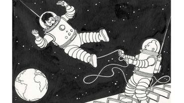 Un dessin de Tintin et du capitaine Haddock dans l'espace, par Hergé, a été adjugé jeudi pour 145.500 euros.