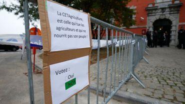 Action de la FUGEA vendredi dernier devant le siège du gouvernement wallon à Namur
