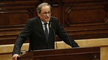 Quim Torra devant le parlement catalan