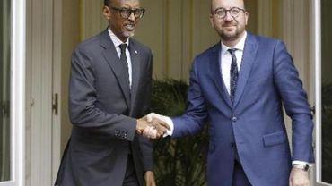 Le Premier ministre belge avec Paul Kagame, le président rwandais.