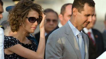 Asma Al-Assad en compagnie de son mari, le président syrien Bachar Al-Assad