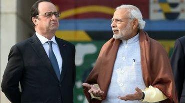 Le président François Hollande et le Premier ministre indien Narendra Modi le 24 janvier 2016 à Chandigarh