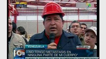 Capture d'écran de la télévision Telesur de Hugo Chavez annonçant le 21 février 2012 à Barinas qu'il allait subir une nouvelle opération