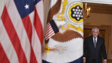 Le secrétaire d'Etat américain Rex Tillerson arrive pour une conférence de presse sur l'Iran, à Washington, le 19 avril 2017