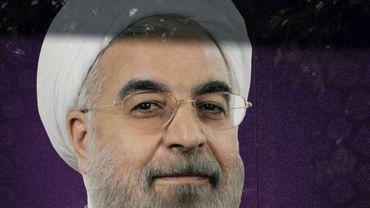Portrait d'Hassan Rohani sur les murs de son QG de campagne, le 20 mai 2017 à Téhéran