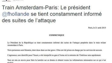 Le communiqué de l'Elysée, vendredi 21 août 2015.