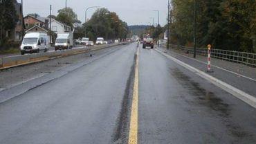 La Nationale 4 à Tenneville: basculement de la totalité du trafic sur les voies vers Marche-en-Famenne