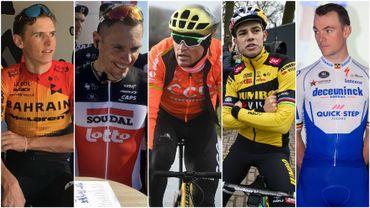 A la veille de la rentrée cycliste en Belgique avec le Circuit Het Nieuwsblad, petit tour d'horizon des chances belges. Qui est forme ? Qui peut envisager la victoire ? (de gauche à droite : Dylan Teuns, Philippe Gilbert, Greg Van Avermaet, Wout Van Aert, Yves Lampaert).