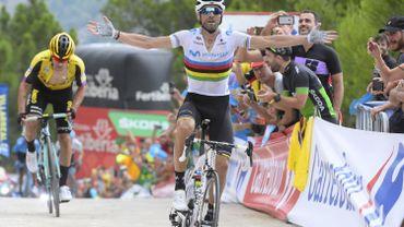 14e victoire d'étape de Valverde sur la Vuelta, Angel Lopez reprend le maillot rouge des épaules de Teuns