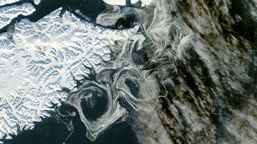 La côte est du Groeland vue par un satellite de la Nasa, le 16 octobre 2012