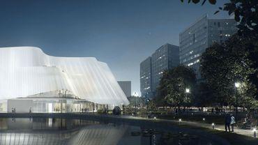 L'extérieur de la salle de concert de l'Orchestre philharmonique de Chine, conçue par le cabinet d'architecture MAD Studio