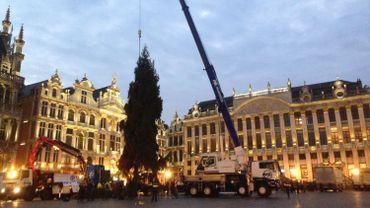 Le sapin de Noël 2014 a été dressé à l'aube sur la Grand Place de Bruxelles