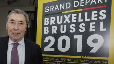 Eddy Merckx , le parrain de l'événement, lors de la conférence de presse en janvier 2018 sur le Grand Départ à Bruxelles de la 106 édition du Tour de France.
