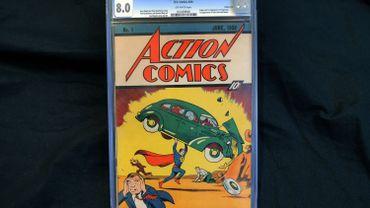 La bande dessinée Actions Comics #1 de 1938 prise en photo le 23 février 2010, à New York, vendue ce jour là pour 1 million de dollars