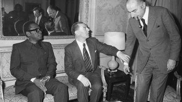 Mobutu en compangie de Leo Tindemans et Paul Vanden Boyenants