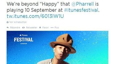 Pharrell Williams sera en concert à Londres le 10 septembre 2014 dans le cadre de l'iTunes Festival