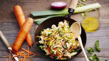 Recette : Wok de poulet sauté au soja, poireaux et carottes - © courtesy of Pierre Chivoret/Alexia Janny