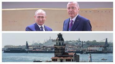 Vladimir Poutine et R.T. Erdogan ce 8 janvier à Istanbul. En dessous: travaux sur le Bosphore, en 2018