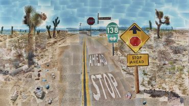 "David Hockney, ""Pearblossom Hwy., 11 - 18th April 1986, #2"""