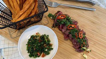 Dans votre assiette ce soir: bavette de boeuf, sauce chimichurri et patates douces