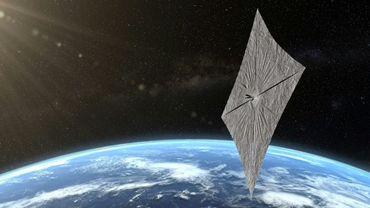 Image de synthèse diffusée le 18 juin 2019 par The Planetary Society de la voile solaire LightSail 2 déployée en orbite