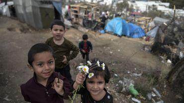 Réfugiés au camp de Moria, sur l'île de Lesbos (Grèce) le 07 mars 2020