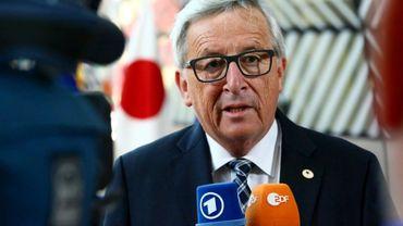 Le président de la Commission européenne, Jean-Claude Juncker, parle à lapresse le 6 juillet 2017 à Bruxelles