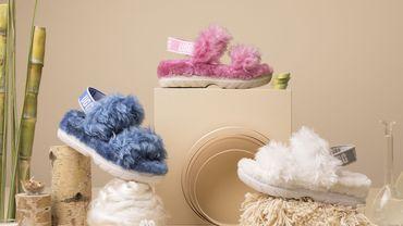 Les sandales Fluff Sugar de la marque UGG confectionnées à partir de matériaux végétaux.