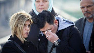"""Abdullah Kurdi, le père du petit Aylan, le garçon syrien retrouvé noyé sur une plage de Turquie en 2015, assiste au baptème d'un navire humanitaire allemand rebaptisé du nom de son fils le 10 février 2019 à Palma de Majorque    et sa tante Tima Kurdi ont assisté au baptème du bateau à Palma de Majorque, en Espagne, organisée par l'ONG allemande Sea-Eye qui a affrété le navire.Abdullah Kurdi and his siter Tima react in front of a Sea-Eye rescue ship named after his son and her nephew Alan Kurdi during its inauguration in Palma de Mallorca on February 10,  2019. The former research vessel """"Professor Albrecht Penck"""" was rebaptised """"Alan Kurdi"""", after the Syrian boy who was drowned during a ship wreck in the Mediterranean Sea."""