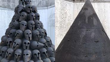 Le monument tel qu'il était et tel qu'il apparaît désormais: tous les casques ont été volés