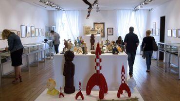 Une salle de ventes aux enchères d'objets Tintin en mai dernier à Paris