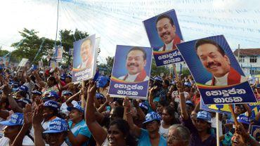 Les supporters due l'ex-président et actuel candidat parlementaire Mahinda Rajapakse.