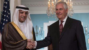 Le chef de la diplomatie saoudienne Adel al-Jubeir et le secrétaire d'Etat américain, Rex Tillerson, le 2 mai 2017 à Washington