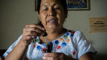 """Maria de Jesus Patricio, une guérisseuse de l'ethnie nahuatl, prépare un """"médicament"""", le 17 juin 2017 à Tuxpan au Mexique"""
