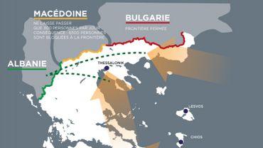 Grèce: la femerture des frontières modifie les routes migratoires (Infographie)
