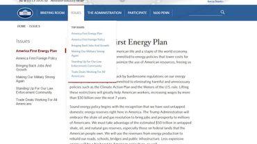 Le nouveau site de la Maison Blanche fait disparaître le réchauffement climatique