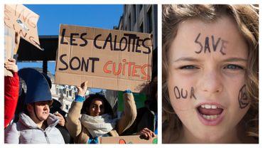 Manifestations des jeunes pour le Climat dans les rues de Bruxelles
