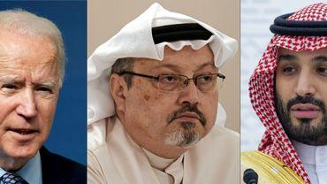 L'ombre du journaliste Jamal Khashoggi (au centre ) entre le président américain et le prince héritier d'Arabie saoudite