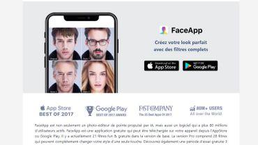 Si vous utilisez l'application FaceApp, vous consentez à ce que vos photos soient réutilisées