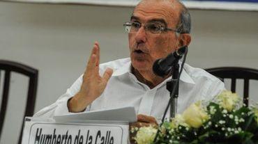 Humberto de la Calle, chef de la délégation du gouvernement colombien aux pourparlers avec les Farc lors d'une conférence de presse à la Havane, le 12 mai 2016